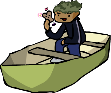 Artist's rendition of Sam's love for his dinghy (and bread)